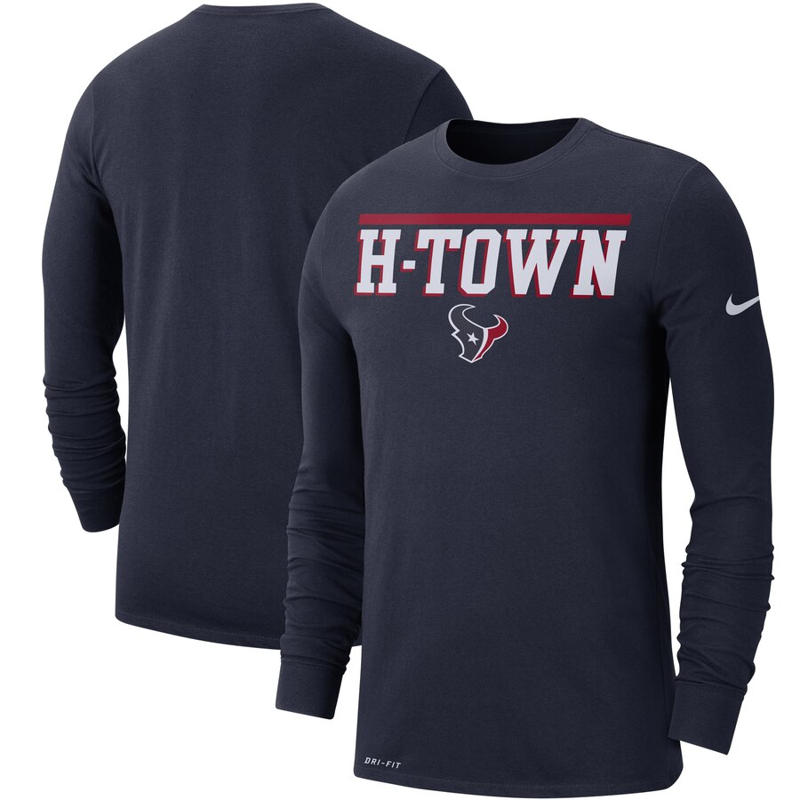 Houston Texans Nike Sideline Local Performance Long Sleeve T-Shirt Navy