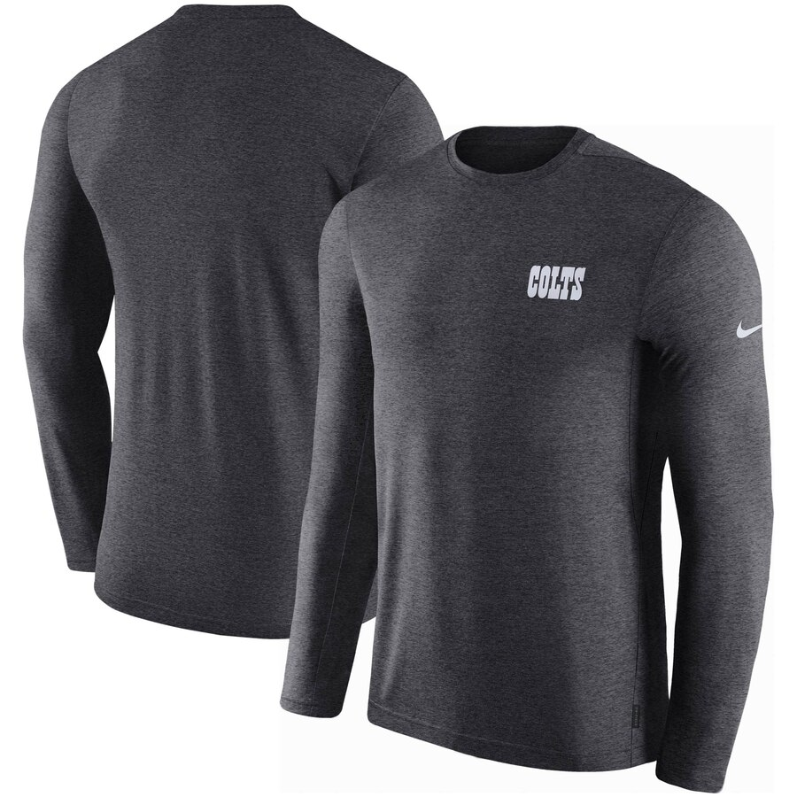 Indianapolis Colts Nike Sideline Coaches UV Long Sleeve Performance T-Shirt Charcoal