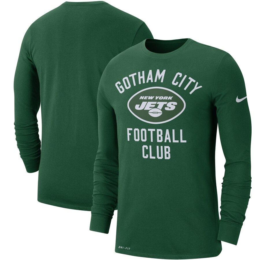 New York Jets Nike Sideline Local Performance Long Sleeve T-Shirt Green