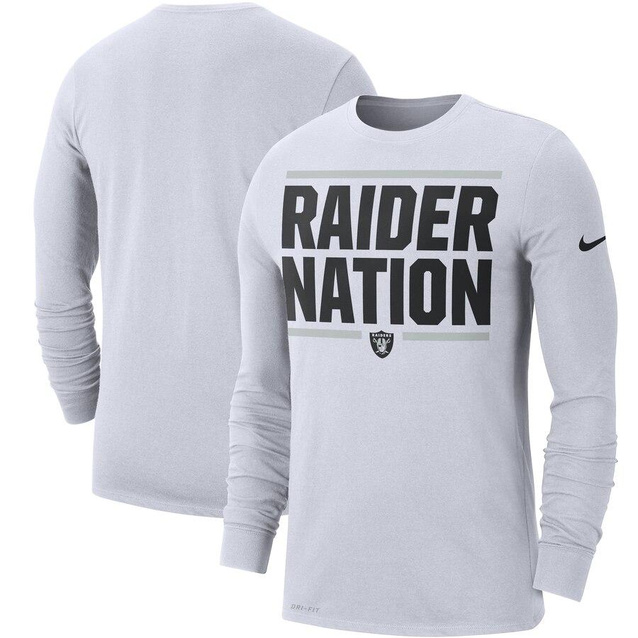 Oakland Raiders Nike Sideline Local Performance Long Sleeve T-Shirt White