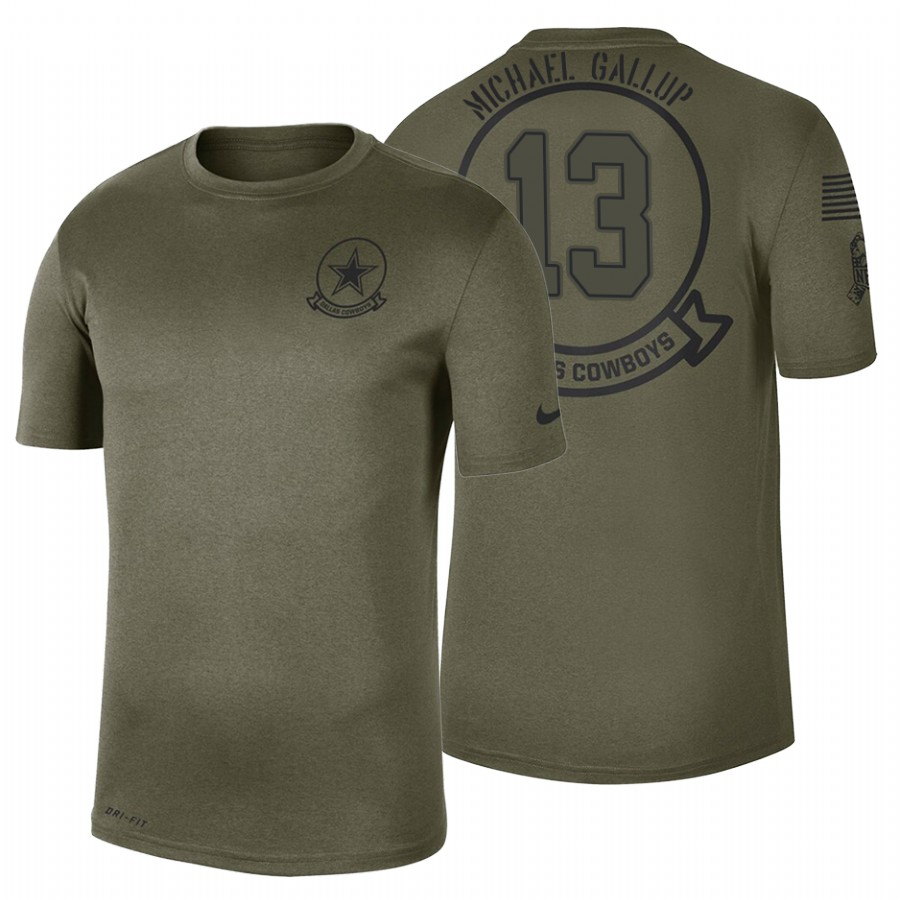 Dallas Cowboys #13 Michael Gallup Olive 2019 Salute To Service Sideline NFL T-Shirt