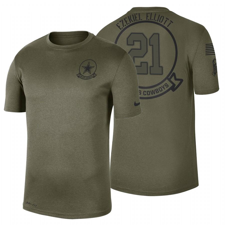 Dallas Cowboys #21 Ezekiel Elliott Olive 2019 Salute To Service Sideline NFL T-Shirt
