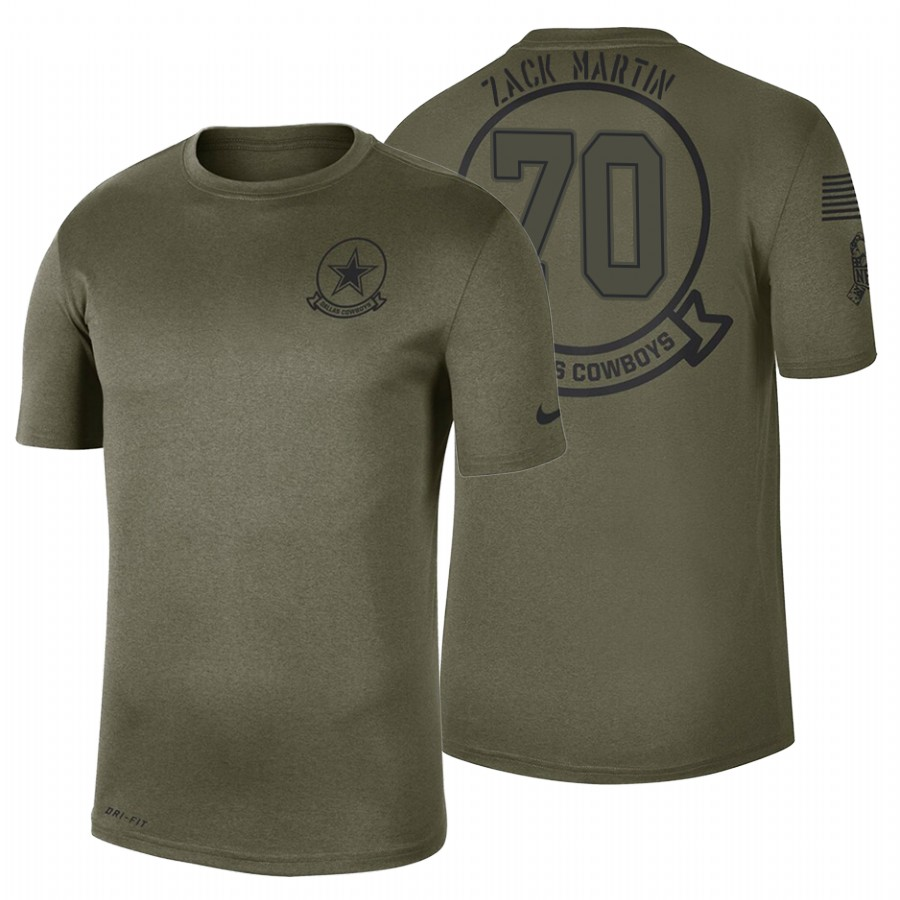 Dallas Cowboys #70 Zack Martin Olive 2019 Salute To Service Sideline NFL T-Shirt