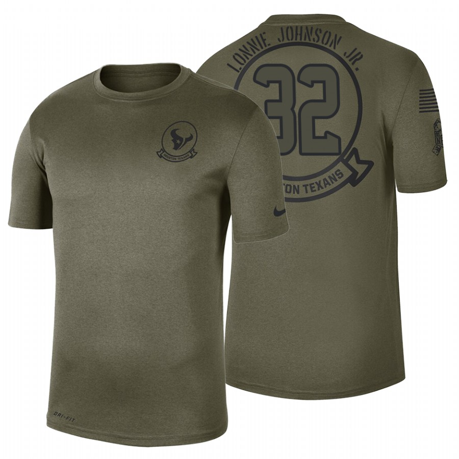 Houston Texans #32 Lonnie Johnson Jr. Olive 2019 Salute To Service Sideline NFL T-Shirt