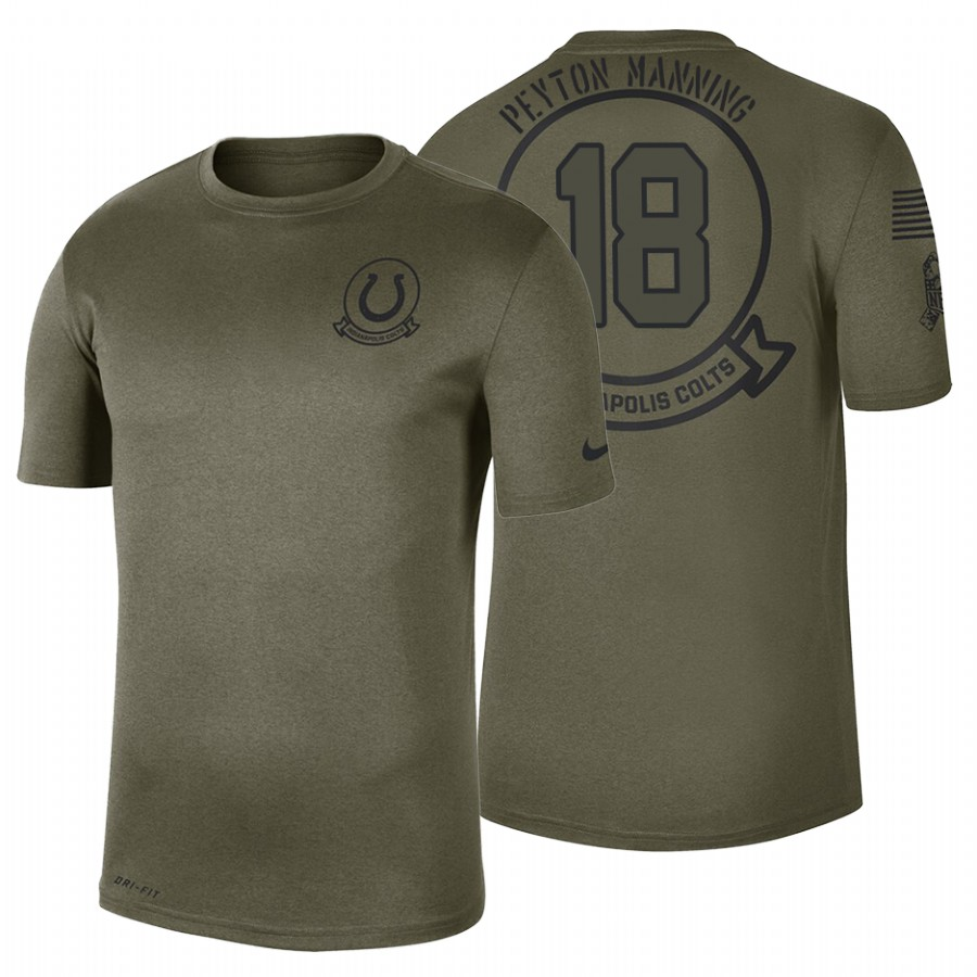 Indianapolis Colts #18 Peyton Manning Olive 2019 Salute To Service Sideline NFL T-Shirt