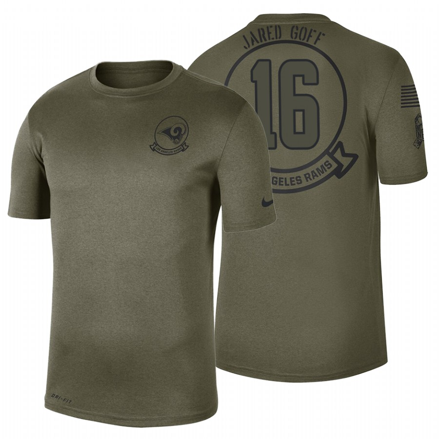 Los Angeles Rams #16 Jared Goff Olive 2019 Salute To Service Sideline NFL T-Shirt