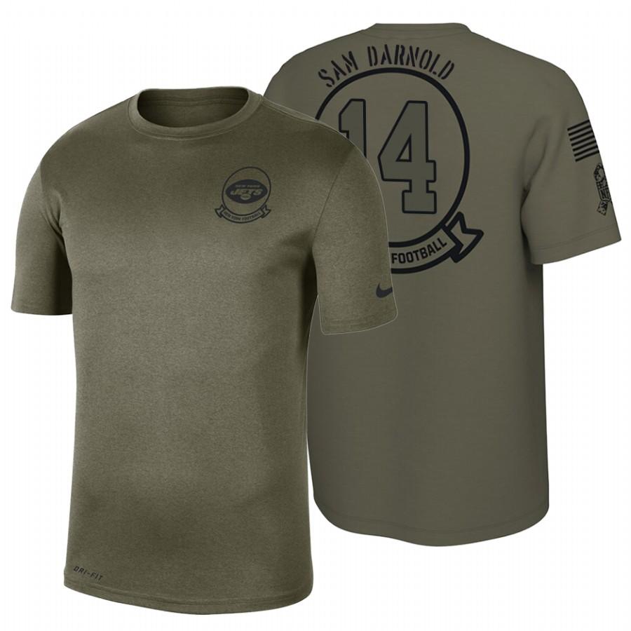 New York Jets #14 Sam Darnold Olive 2019 Salute To Service Sideline NFL T-Shirt