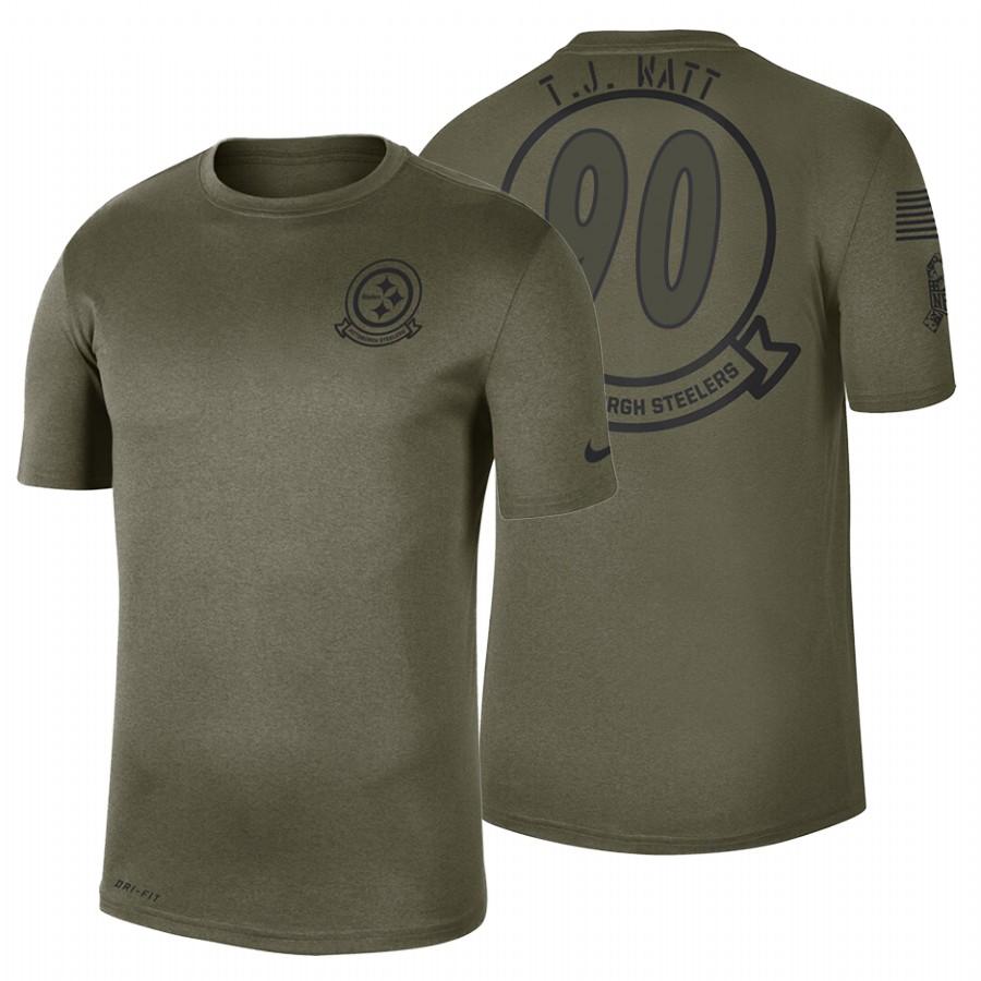 Pittsburgh Steelers #90 T.J. Watt Olive 2019 Salute To Service Sideline NFL T-Shirt