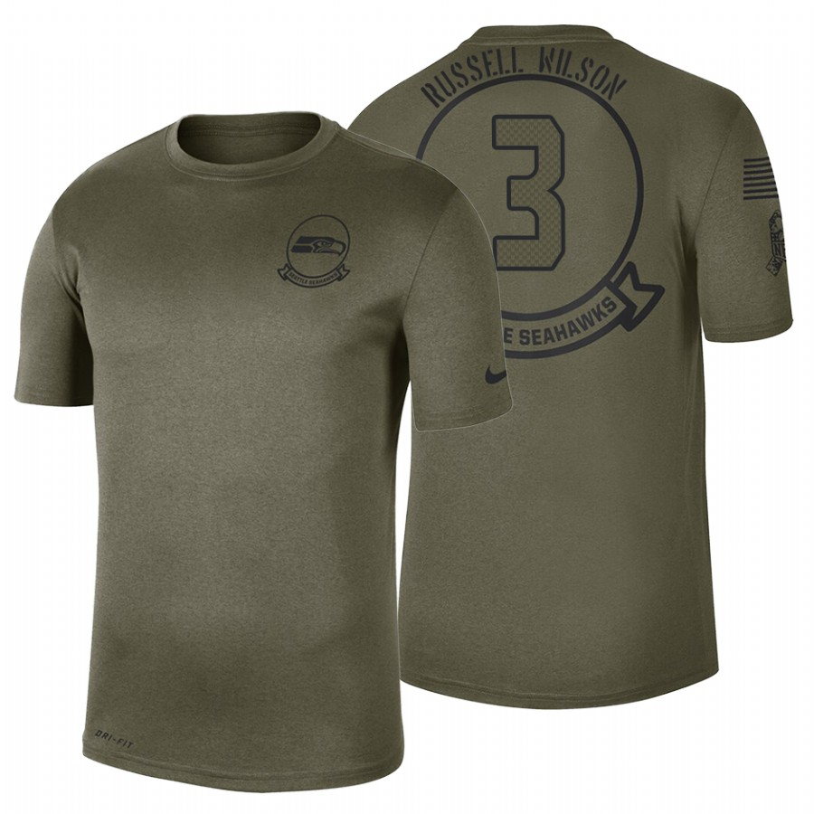 Seattle Seahawks #3 Russell Wilson Olive 2019 Salute To Service Sideline NFL T-Shirt