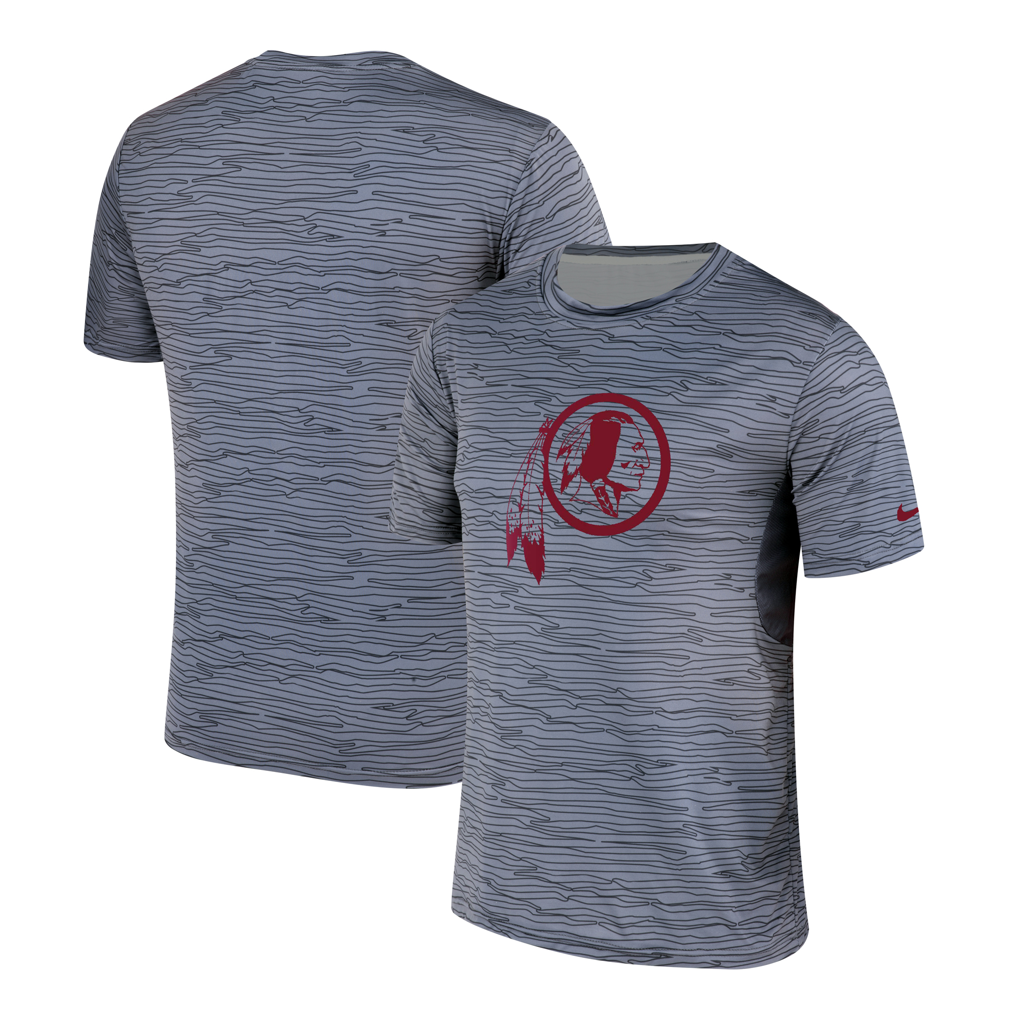 Men's Washington Redskins Nike Gray Black Striped Logo Performance T-Shirt