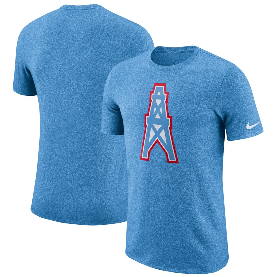 Houston Oilers Nike Marled Historic Logo Performance T-Shirt Light Blue