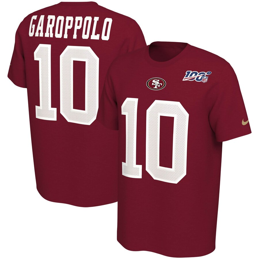 San Francisco 49ers #10 Jimmy Garoppolo Nike NFL 100th Season Player Pride Name & Number Performance T-Shirt Scarlet