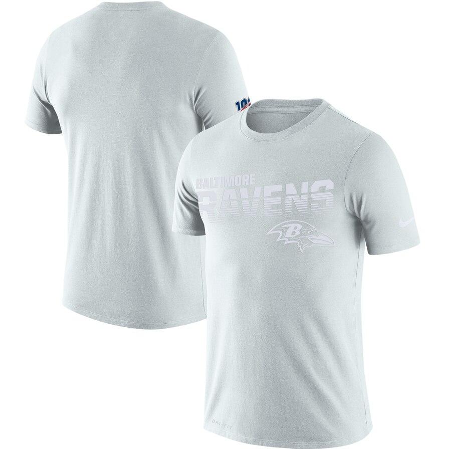 Baltimore Ravens Nike NFL 100 2019 Sideline Platinum Performance T-Shirt White