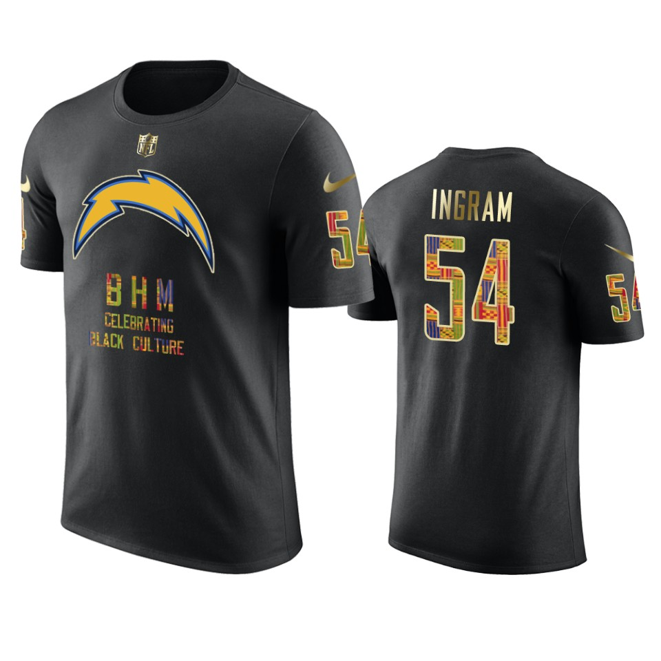 Chargers #54 Melvin Ingram Black Men's Black History Month T-Shirt