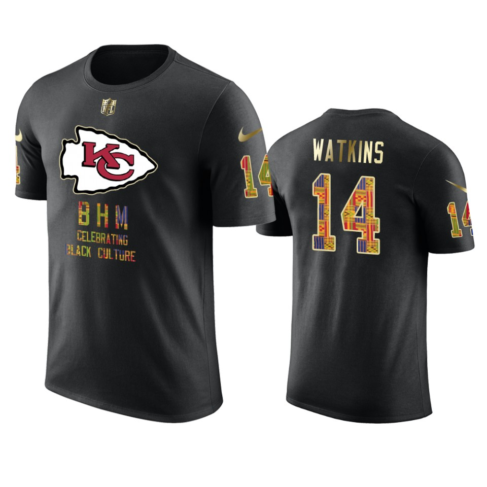 Chiefs #14 Sammy Watkins Black Men's Black History Month T-Shirt