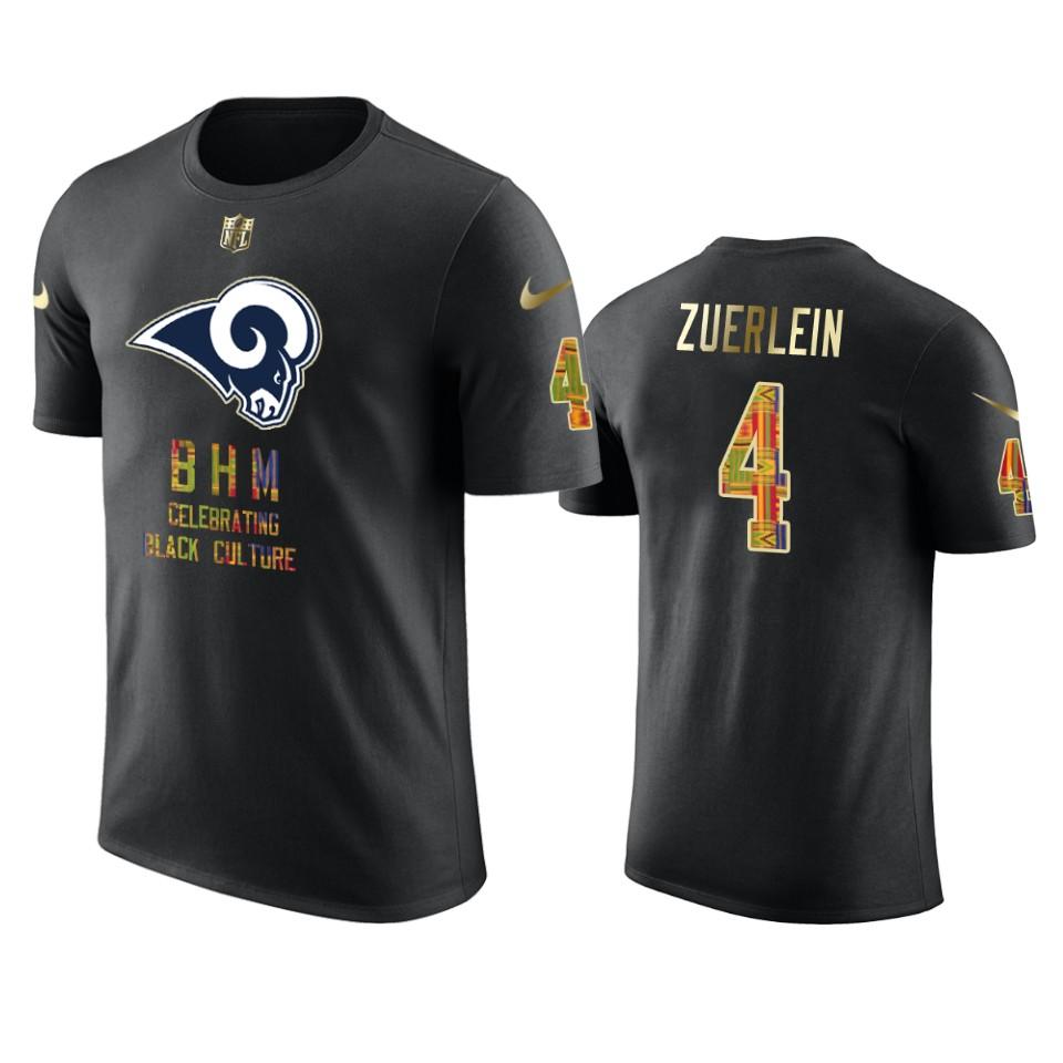 Rams #4 Greg Zuerlein Black Men's Black History Month T-Shirt