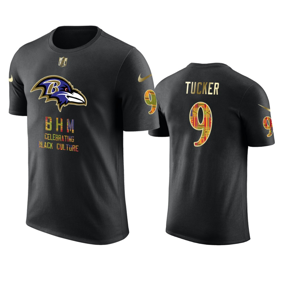 Ravens #9 Justin Tucker Black Men's Black History Month T-Shirt