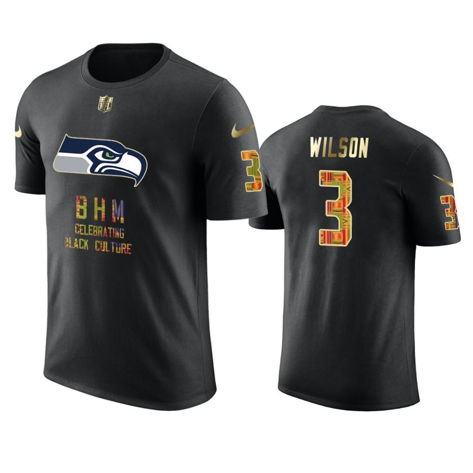 Seahawks #3 Russell Wilson Black Men's Black History Month T-Shirt