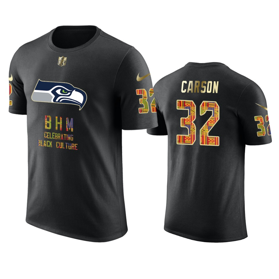 Seahawks #32 Chris Carson Black Men's Black History Month T-Shirt