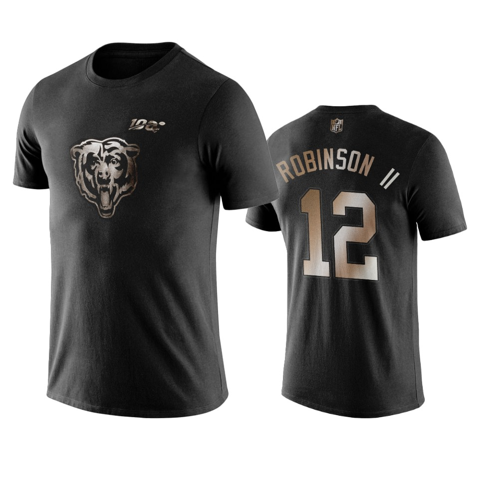 Bears #12 Allen Robinson II Black NFL Black Golden 100th Season T-Shirts