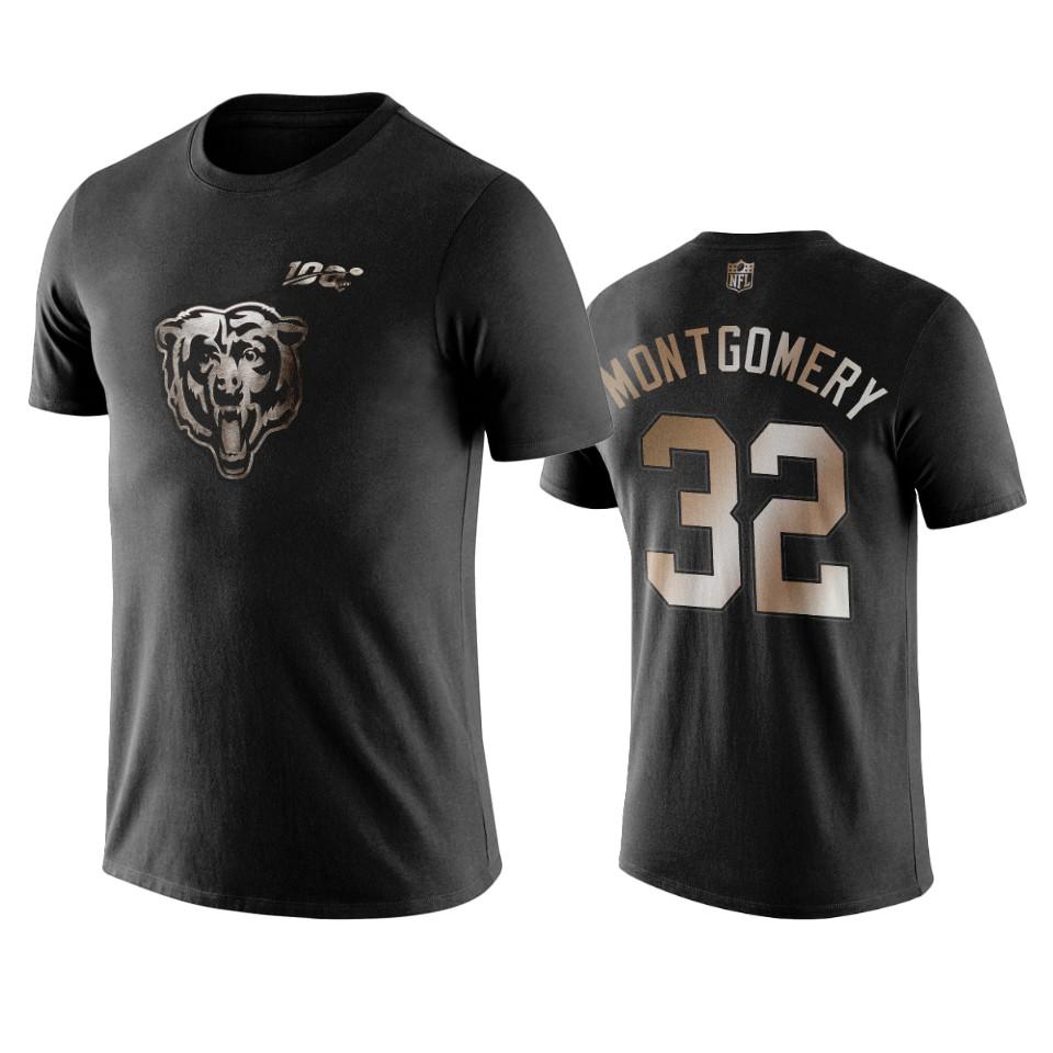Bears #32 David Montgomery Black NFL Black Golden 100th Season T-Shirts