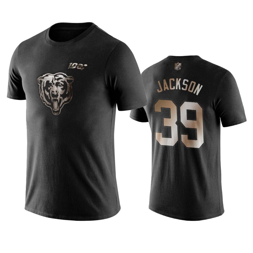 Bears #39 Eddie Jackson Black NFL Black Golden 100th Season T-Shirts