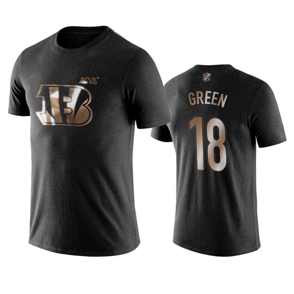 Bengals #18 A.J. Green Black NFL Black Golden 100th Season T-Shirts