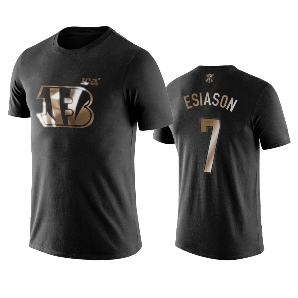 Bengals #7 Boomer Esiason Black NFL Black Golden 100th Season T-Shirts