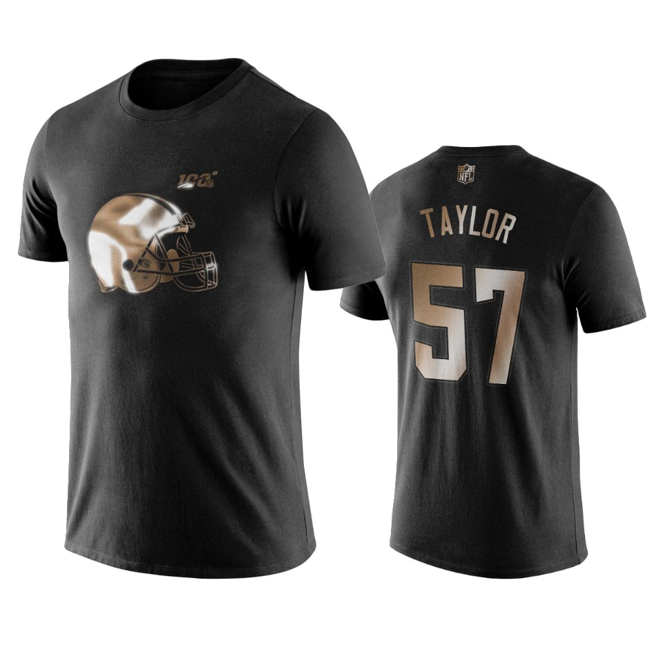 Browns #57 Adarius Taylor Black NFL Black Golden 100th Season T-Shirts