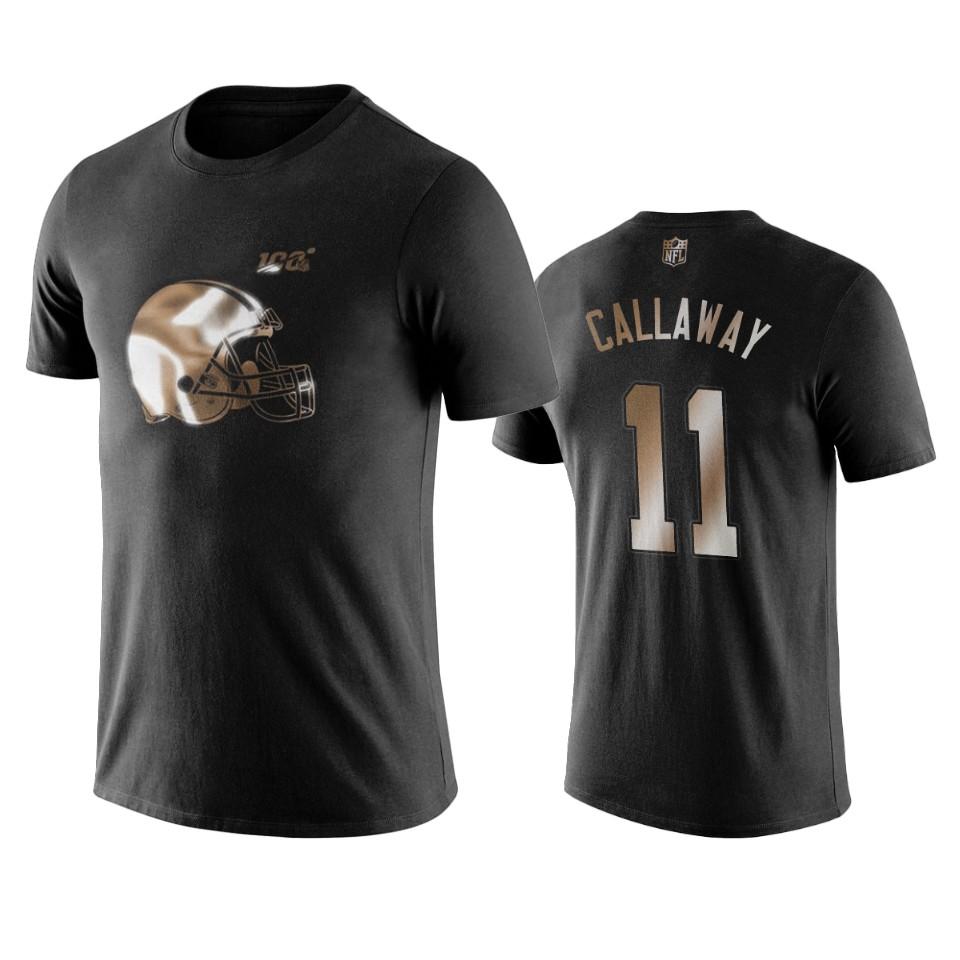 Browns #11 Antonio Callaway Black NFL Black Golden 100th Season T-Shirts