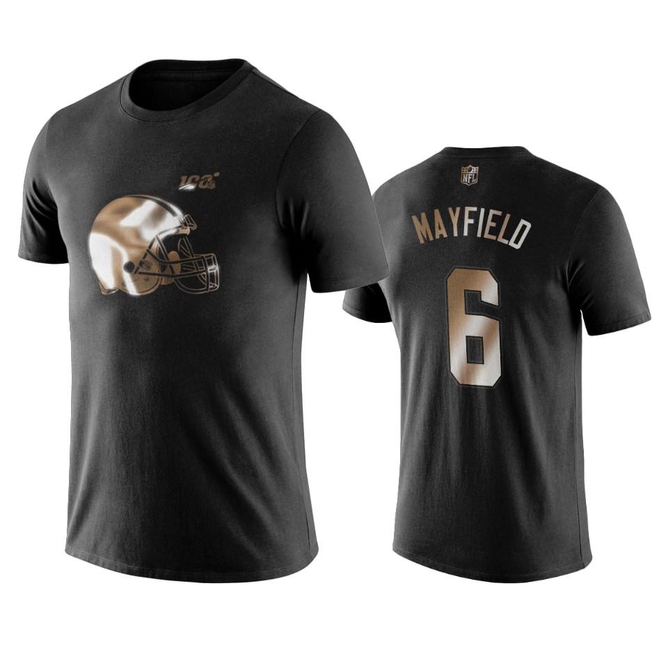 Browns #6 Baker Mayfield Black NFL Black Golden 100th Season T-Shirts