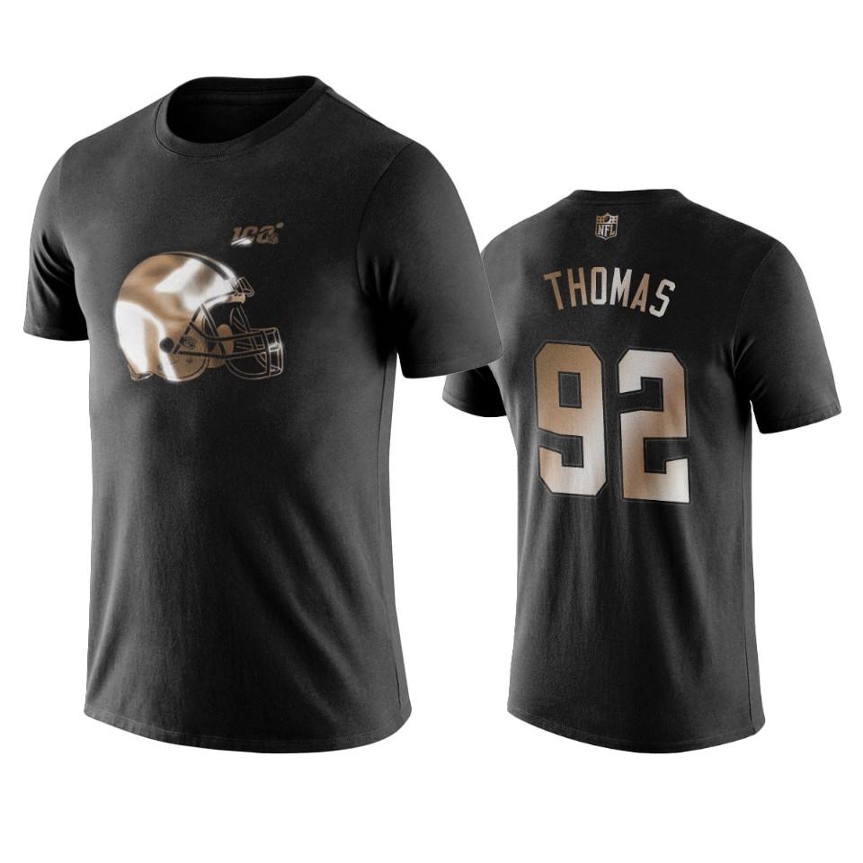 Browns #92 Chad Thomas Black NFL Black Golden 100th Season T-Shirts