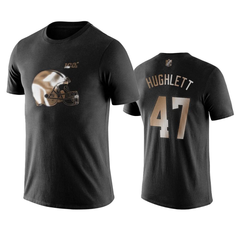 Browns #47 Charley Hughlett Black NFL Black Golden 100th Season T-Shirts