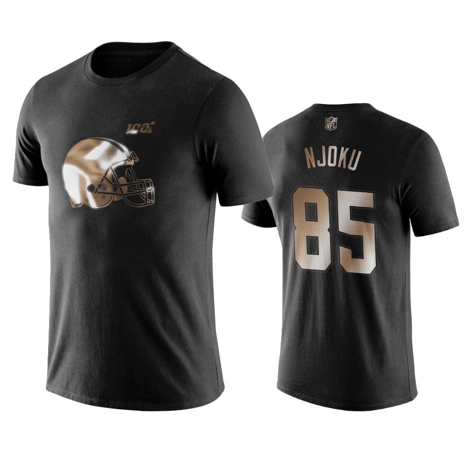 Browns #85 David Njoku Black NFL Black Golden 100th Season T-Shirts
