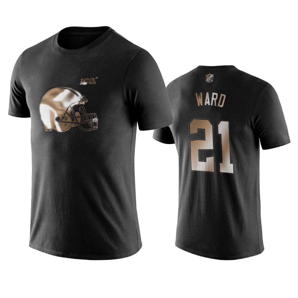 Browns #21 Denzel Ward Black NFL Black Golden 100th Season T-Shirts