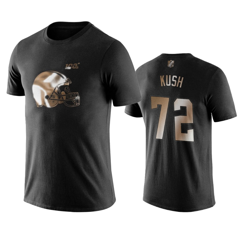 Browns #72 Eric Kush Black NFL Black Golden 100th Season T-Shirts