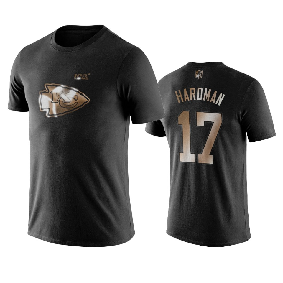 Chiefs #17 Mecole Hardman Black NFL Black Golden 100th Season T-Shirts