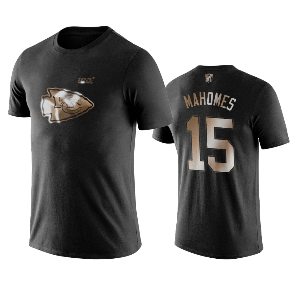 Chiefs #15 Patrick Mahomes Black NFL Black Golden 100th Season T-Shirts