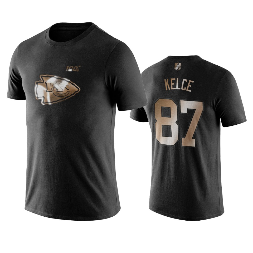 Chiefs #87 Travis Kelce Black NFL Black Golden 100th Season T-Shirts
