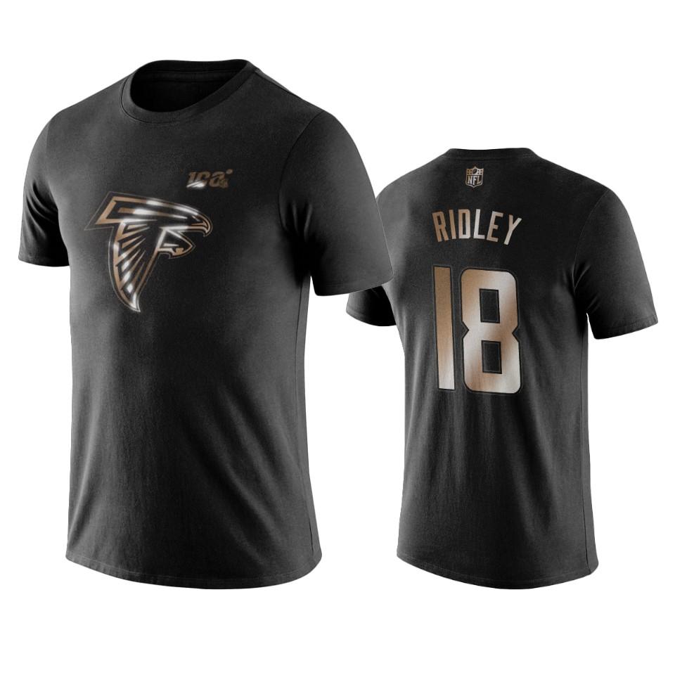 Falcons #18 Calvin Ridley Black NFL Black Golden 100th Season T-Shirts