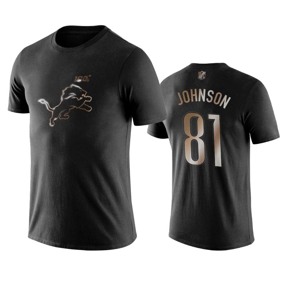 Lions #81 Calvin Johnson Black NFL Black Golden 100th Season T-Shirts