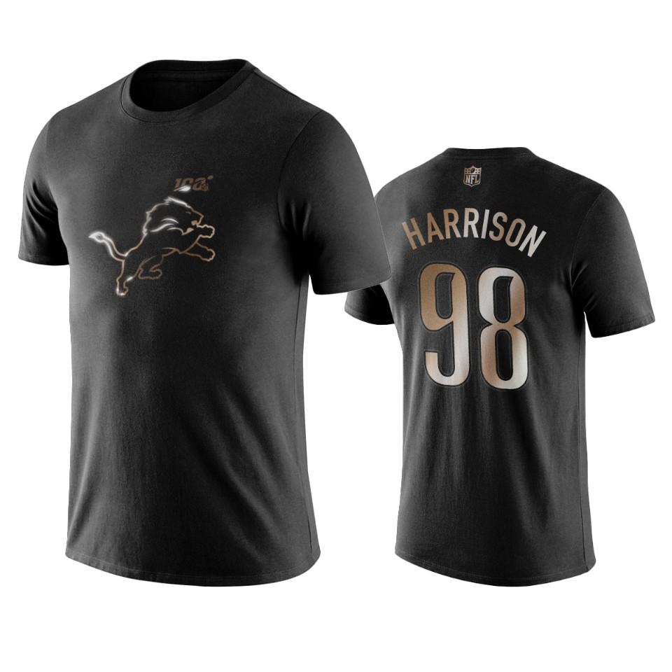 Lions #98 Damon Harrison Black NFL Black Golden 100th Season T-Shirts