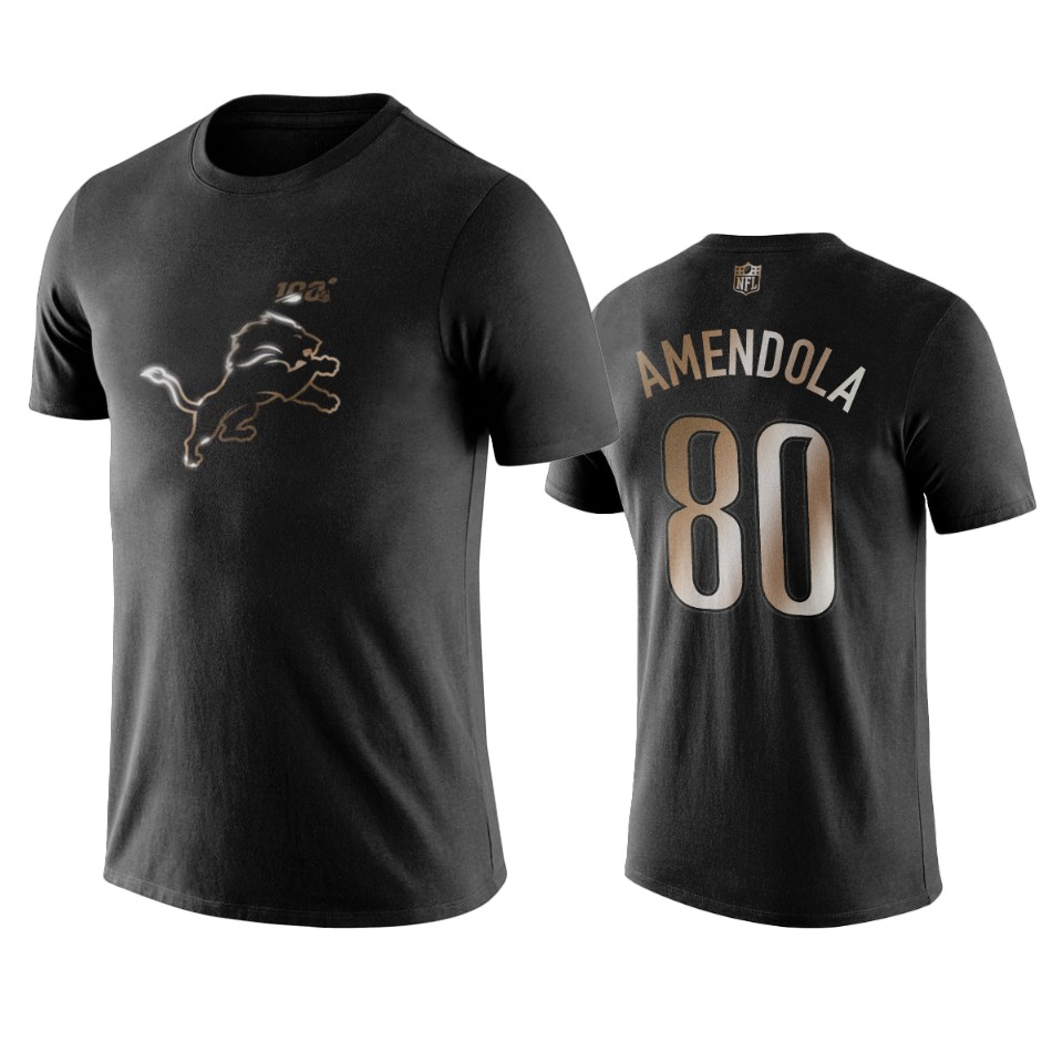 Lions #80 Danny Amendola Black NFL Black Golden 100th Season T-Shirts