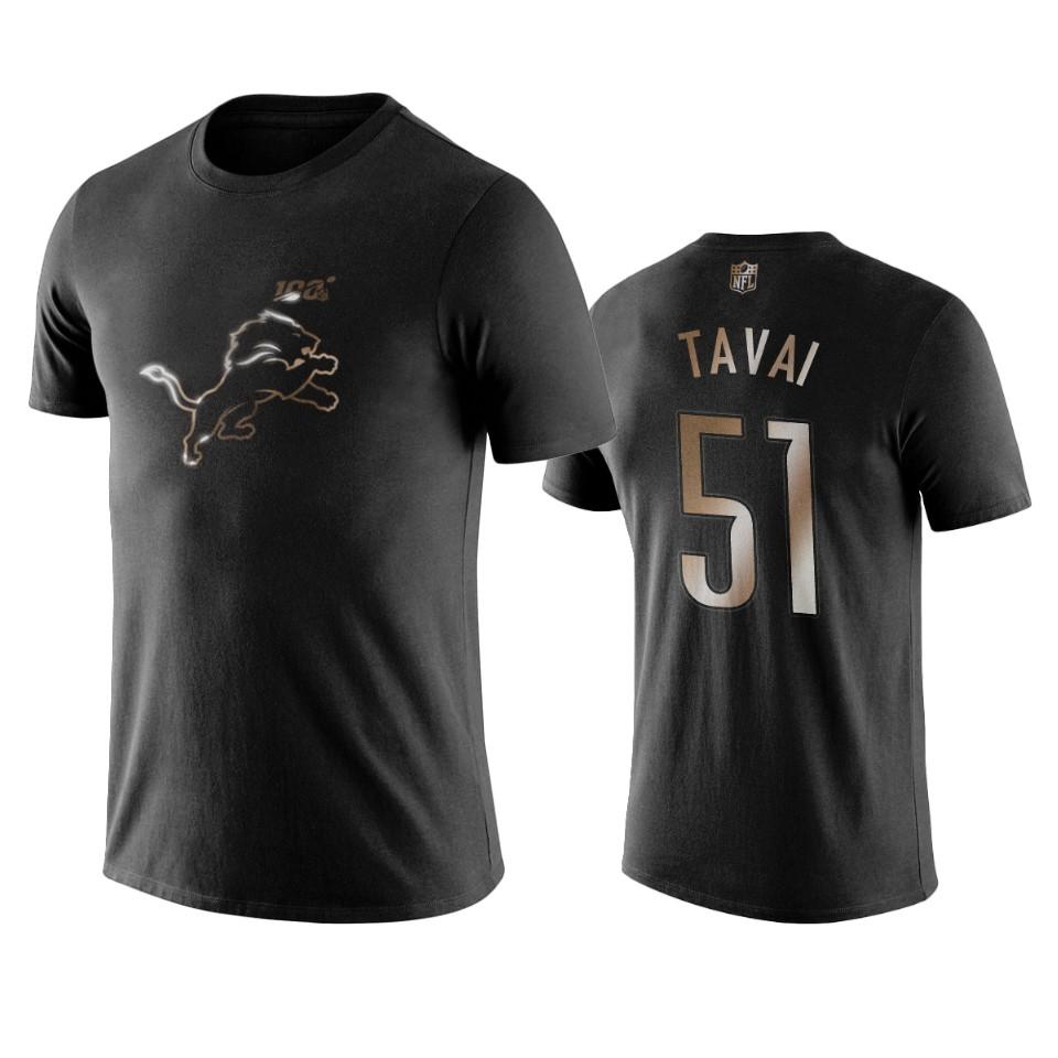 Lions #51 Jahlani Tavai Black NFL Black Golden 100th Season T-Shirts