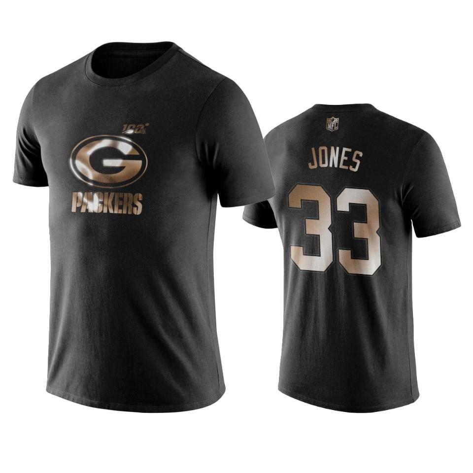 Packers #33 Aaron Jones Black NFL Black Golden 100th Season T-Shirts