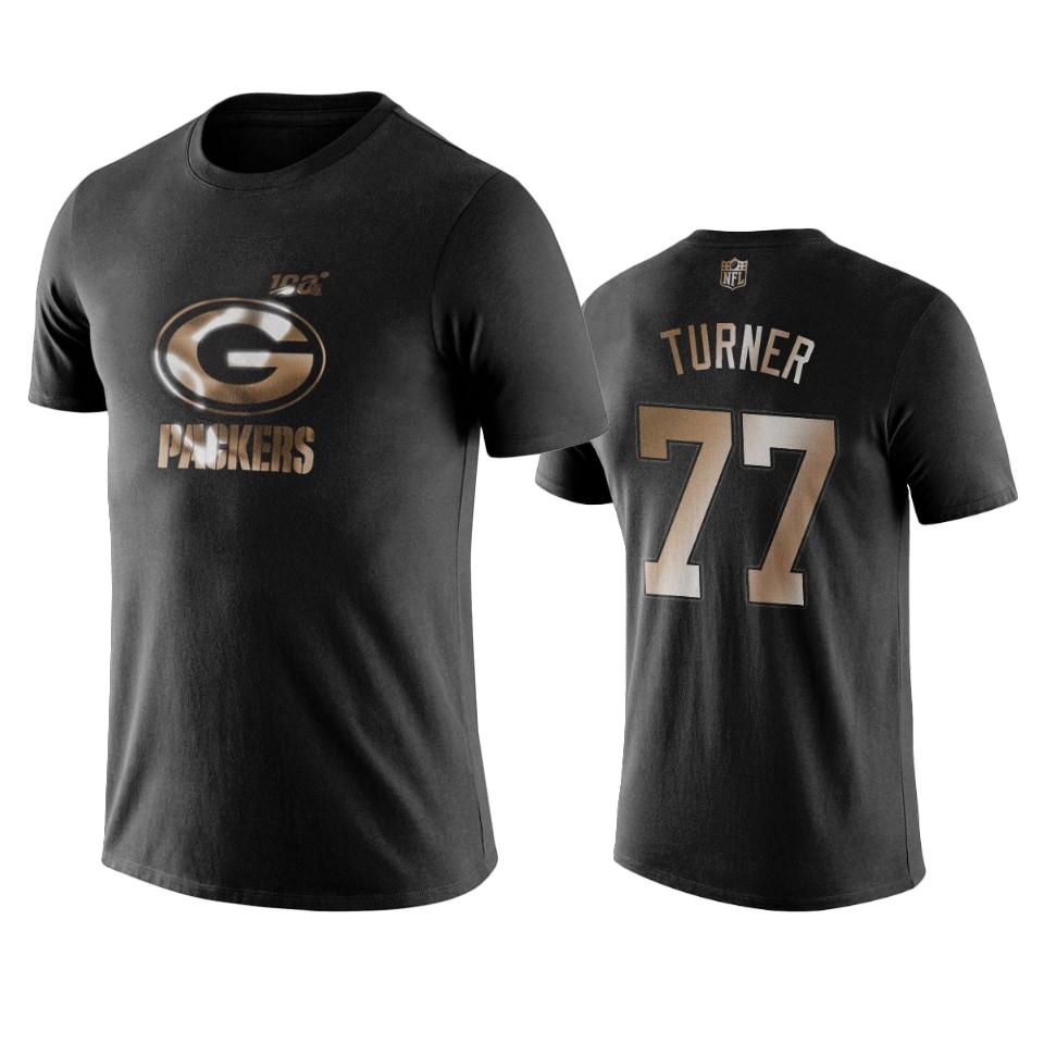 Packers #77 Billy Turner Black NFL Black Golden 100th Season T-Shirts