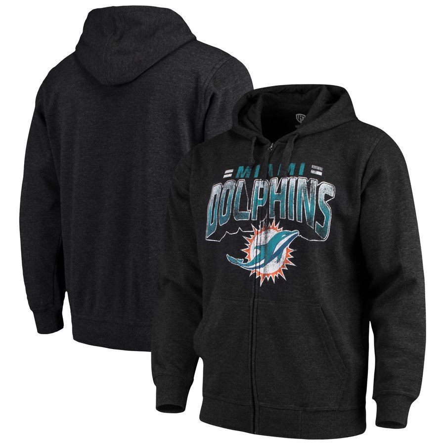 Miami Dolphins G-III Sports by Carl Banks Perfect Season Full-Zip Hoodie Charcoal
