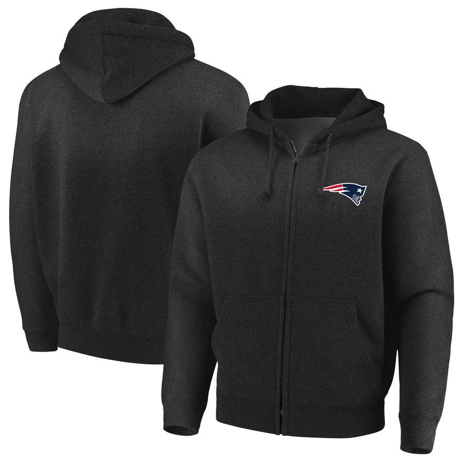 New England Patriots Majestic Cap Logo Full-Zip Hoodie Black