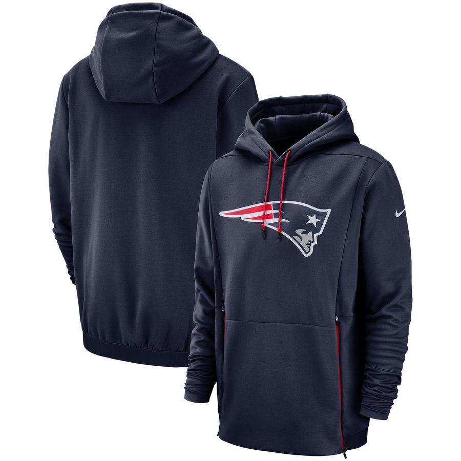 New England Patriots Nike Sideline Performance Player Pullover Hoodie Navy