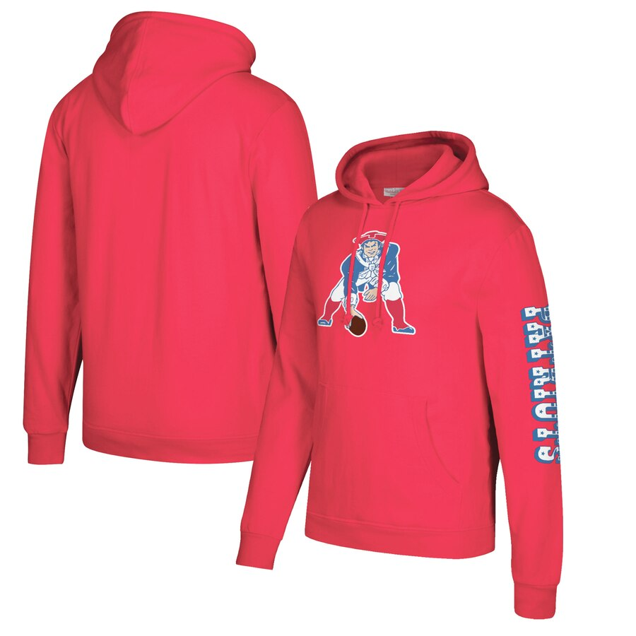New England Patriots Mitchell & Ness Classic Team Pullover Hoodie Red